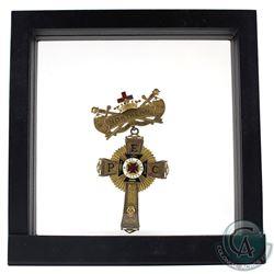 "1919 Knights Templar Freemasonry Finely Detailed Decorative Enameled Golden Cross Pin. ""No. 16, Nort"
