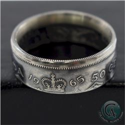 1965 Canada Silver 50-cent Coin Custom Jewellery Ring Size 10 - Made from a real 50-cent coin!