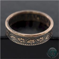 Canada Large 1-cent Coin Custom Jewellery Ring Size 10 - Made from a real Large 1-cent coin!