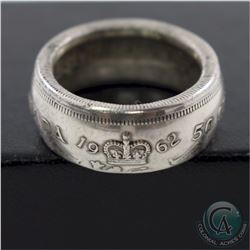 1962 Canada Silver 50-cent Coin Custom Jewellery Ring Size 7 1/2 - Made from a real 50-cent coin!