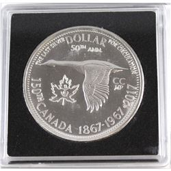 1867-1967-2017 Leaf & Anchor Counter-Stamped Silver Dollar Commemorating the 150th Anniversary of Ca