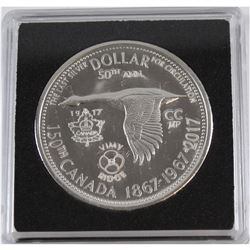 1867-1967-2017Counter-Stamped Silver Dollar Commemorating the 150th Anniversary of Canada & 100th A