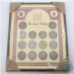 *The Royal Wedding Coin Collection Featuring 14 One Crown Coins from Different Countries in Wooden F
