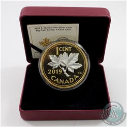 2019 Canada 1-cent Big Coin Reverse Gold-Plated 5oz Fine Silver Coin (missing outer sleeve) TAX Exem
