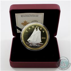 2019 Canada 10-cent Big Coin Reverse Gold-Plated 5oz Fine Silver Coin (missing outer sleeve) TAX Exe