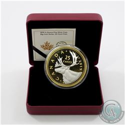 2019 Canada 25-cent Big Coin Reverse Gold-Plated 5oz Fine Silver Coin (missing outer sleeve) TAX Exe
