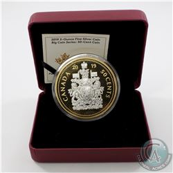 2019 Canada 50-cent Big Coin Reverse Gold-Plated 5oz Fine Silver Coin (missing outer sleeve) TAX Exe