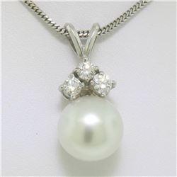 "14k White Gold 0.48 ctw VS Diamond Large 12mm Pearl Pendant w/ 18"" Chain"