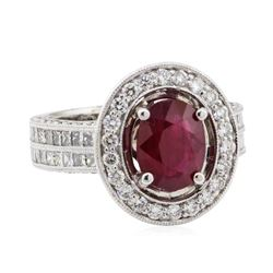 5.13 ctw Ruby and Diamond Ring - 18KT White Gold