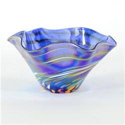 Mini Wave Bowl (Blue Rainbow Twist) by Glass Eye Studio