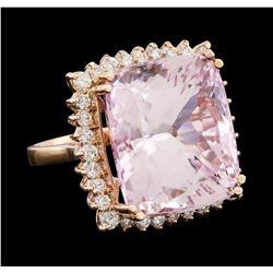 34.86 ctw Kunzite and Diamond Ring - 14KT Rose Gold