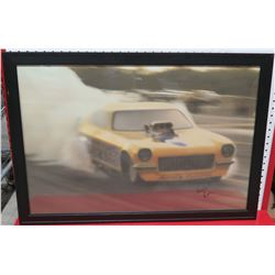 Framed Yellow Race Car Print Signed by Ron