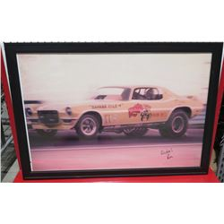 Framed Yellow Banana Gold Race Car Print Signed by Ron