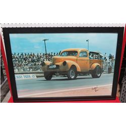 Framed Yellow Willy's Pick Up Race Truck Print Signed by Ron