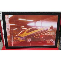Framed Yellow Purple  Ron's Vega  Race Car Print Signed by Ron