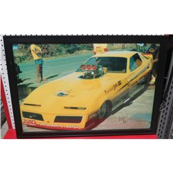 Framed Yellow Banana Gold Pontiac Race Car Print Signed by Ron