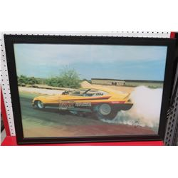Framed Yellow Race Car Print #7784 Signed by Ron