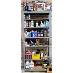 Shelf & Contents - Misc Oil, Filters, Paint, Fluids, WD-40, Battery, etc