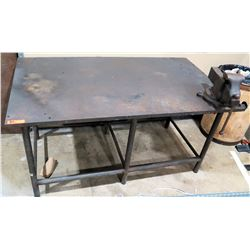 Metal Shop Work Table w/ Attached Reed Mfg Co Vise Clamp