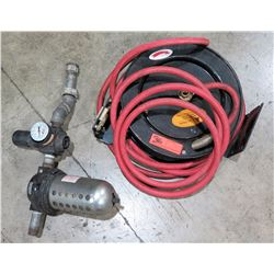Air Hose Reel w/ Hose, Filter & Pressure Gauge