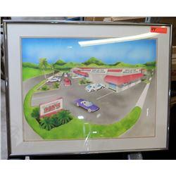 Framed Cartoon Artwork Ron's Performance Wheel & Tire Center