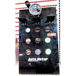Auto Meter Commercial Display w/ RPM Gauge & 4 Misc Oil Gauges