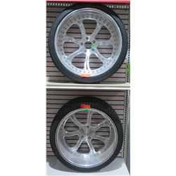 Qty 2 US Mags El Ray 22x10 5x5 -3 piece directional wheel on Falken ST5000 265/35R22 102H Tires w/ C