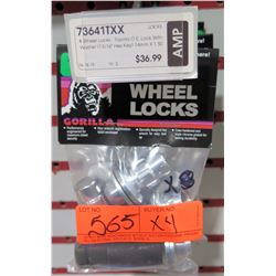 Qty 4 Gorilla Wheel Locks 73641TXX 14mmx1.50 Toyota Style OE Lock w/ Washer $37/ea