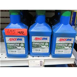 Qty 12 Quarts AMSoil Synthetic SAE 10W-30 Marine Engine Oil