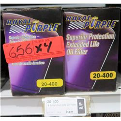 Qty 4 Royal Purple 20-400 Extended Life Oil Filters-multiple Ford/Jeep/Chrysler applications