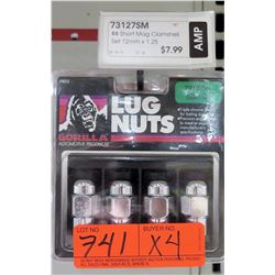 4 Packs of 4 Gorilla Lug Nuts 73127SM 12mm x1.25 Short Mag
