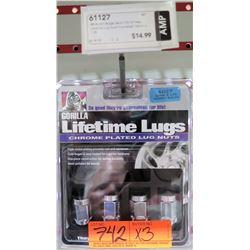 3 Packs of 4 Gorilla Lifetime Chrome Plated Lugs 61127 12mm x1.25 Acorn Bulge