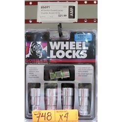 "4 Packs of 4 Gorilla Guard Wheel Locks 66691 9/16"" Duplex Acorn"