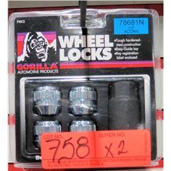 "2 Packs of 4 Gorilla Wheel Locks 78681N 1/2"" Open end Acorn"
