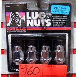 1 pack of 4 Gorilla Lug Nuts 91127HT 12mm x1.25 Acorn Bulge Heat Treated