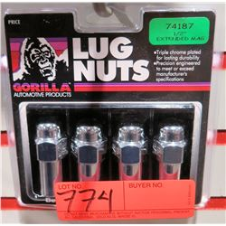 """1 pack of 4 Gorilla Lug Nuts 74187 1/2"""" Extended Mag"""