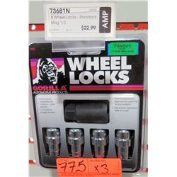"""3 Packs of 4 Gorilla Wheel Locks 73681N 1/2"""" Standard Mag"""