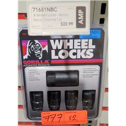 "2 Packs of 4 Gorilla Wheel Locks 71681NBC 1/2"" Acorn Black"