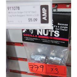 "3 Packs of 4 Gorilla Lug Nuts 91107B 13/16"" Acorn Bulge"