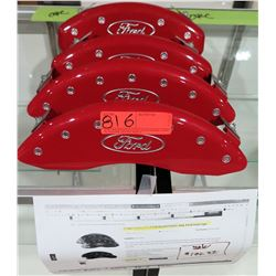 Qty 4 Caliper Covers for 12-19 F150 10219SFRDRD, Red, Ford Oval Logo