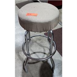 Shop Stool 4 Metal Legs w/ Gray Upholstered Seat