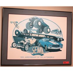 Black Framed SEMA Print 100 Anniversary of the Automobile