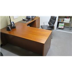 Scan Design L-Shaped Executive Desk w/2 rolling file cabinets & Leather Office Chair