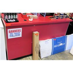 "Display Counter ONLY - Red Desk w/ Adjustable Back Shelves 70"" x 24"" x 42"""