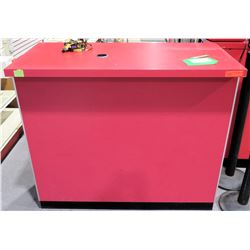 "Display Counter ONLY - Red Desk w/ Adjustable Back Shelves 48"" x 24"" x 42"""