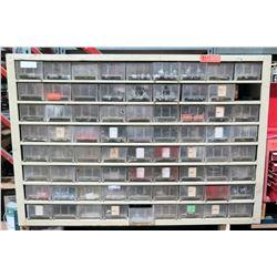 Metal Shelf w/ Multiple Plastic Bins Filled - Screws, Washers, Nuts, etc