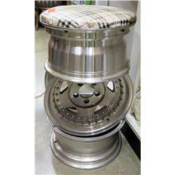Shop Stool Made of 3 Chrome Wheel Rims w/ Plaid Seat