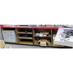 "Display Shelf - Red Open Cabinet w/ Adjustable Shelves 121"" x 24"" x 42"""