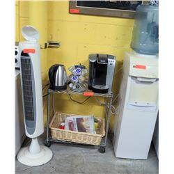 Water Cooler w/ Jug, Tower Fan, Keurig Coffee Maker & Pods, etc