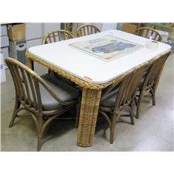 Wicker & White Dining Table & 6 Matching Chairs w/ Upholstered Seats